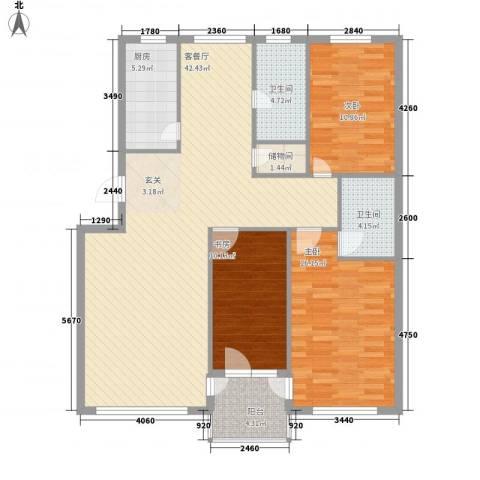 金润花园3室1厅2卫1厨137.00㎡户型图