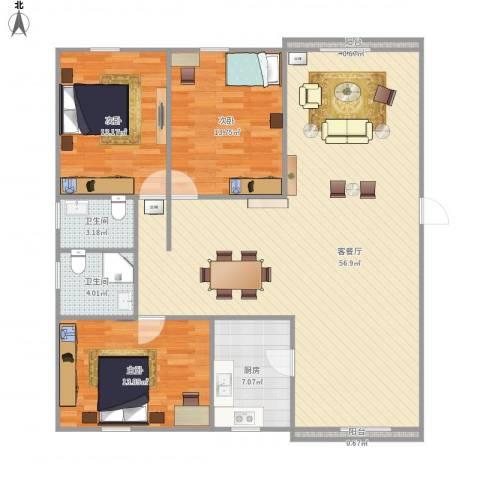 东苑新天地-322-1213室1厅2卫1厨151.00㎡户型图