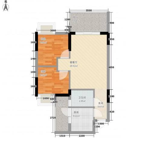 金旺新苑2室1厅1卫1厨50.27㎡户型图