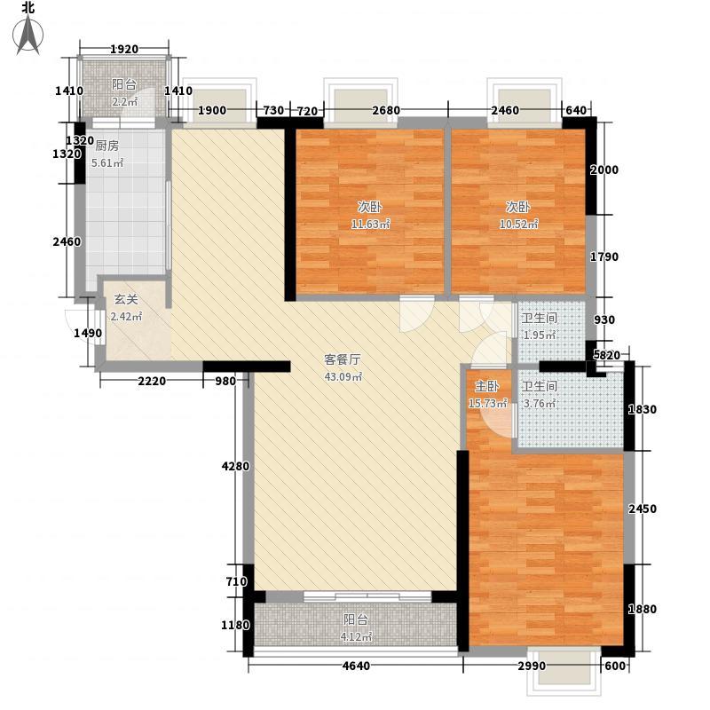桥南城市中心138.00㎡海丝景城2#楼4单元户型3室2厅2卫1厨