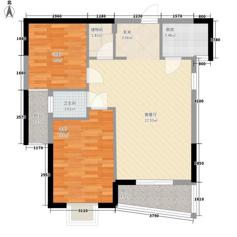 桥南城市中心86.00㎡海丝景城2#楼6单元户型2室2厅2卫1厨