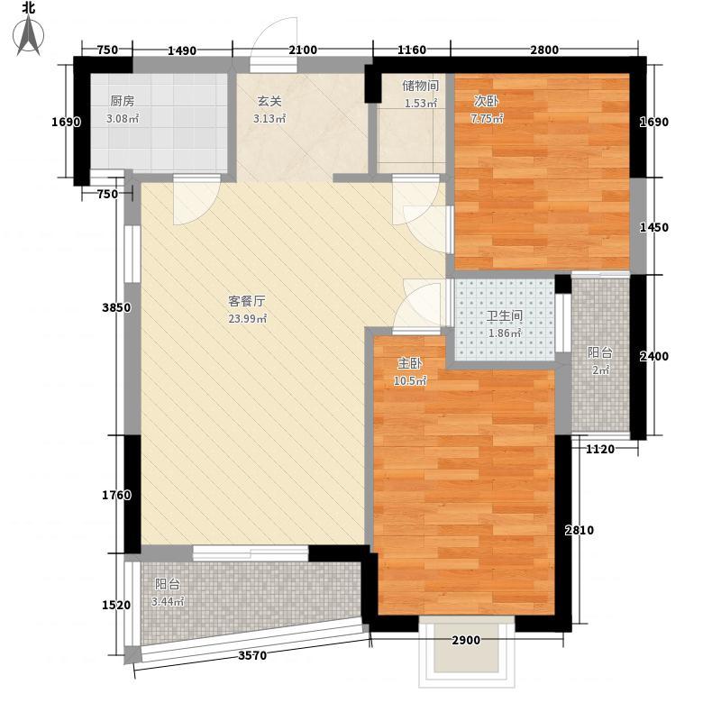 桥南城市中心78.00㎡海丝景城1#楼3单元户型2室2厅2卫1厨