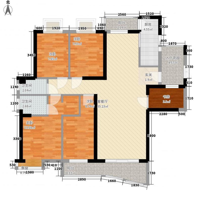 桥南城市中心142.00㎡海丝景城5#楼1单元户型4室2厅2卫1厨
