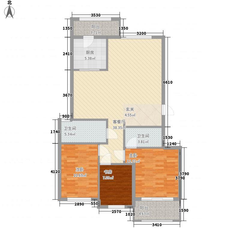 富甲逸品127.81㎡6、8、10#B户型3室2厅2卫1厨