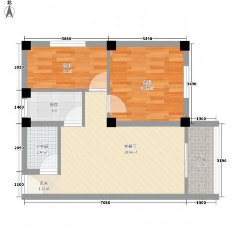 天平花苑2室1厅1卫1厨64.00㎡户型图