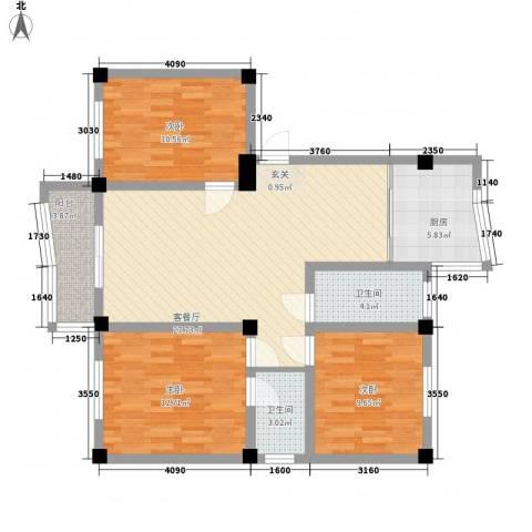 政荷苑3室1厅2卫1厨114.00㎡户型图