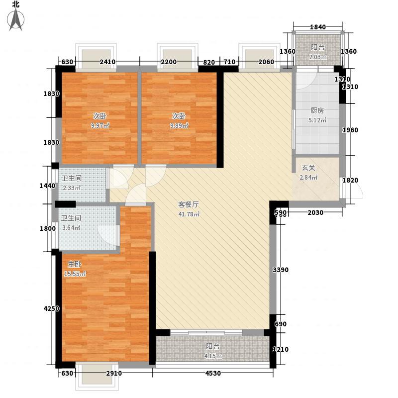 桥南城市中心132.00㎡海丝景城2#楼1单元户型3室2厅2卫1厨