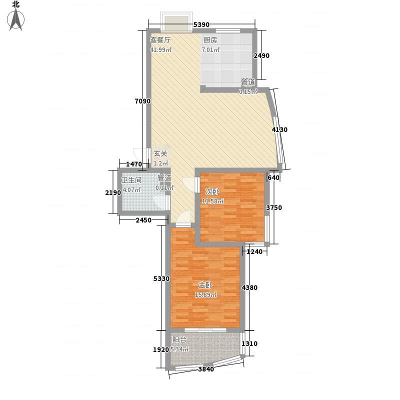 实力伴云居112.28㎡10号楼户型2室2厅1卫