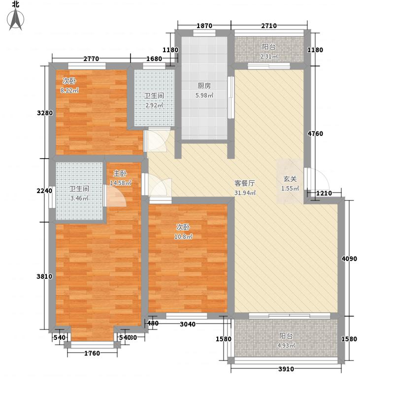 银座动感世代124.00㎡l户型3室3厅2卫1厨