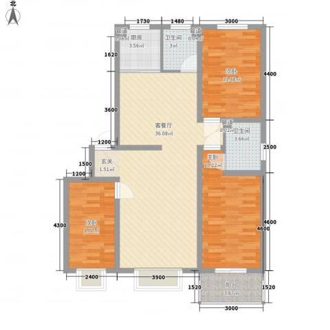 东岸上城3室1厅2卫1厨112.00㎡户型图