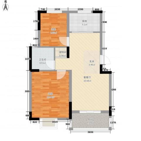 洛城德院2室1厅1卫1厨93.00㎡户型图