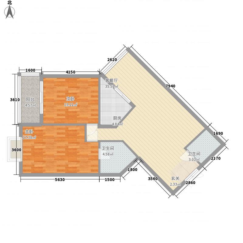 青亲江岸111.70㎡清亲江岸c型户型2室2厅2卫1厨