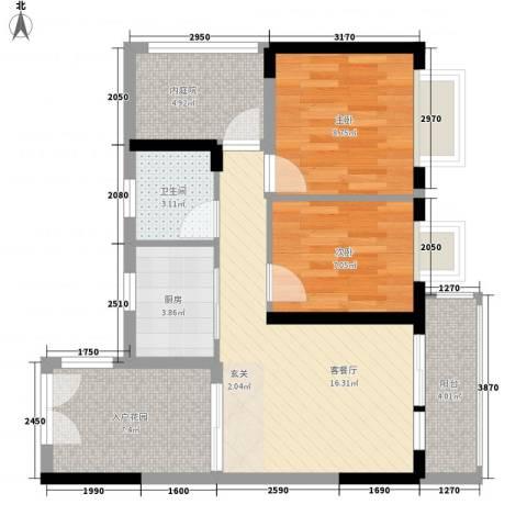 威廉城邦2室1厅1卫1厨81.00㎡户型图