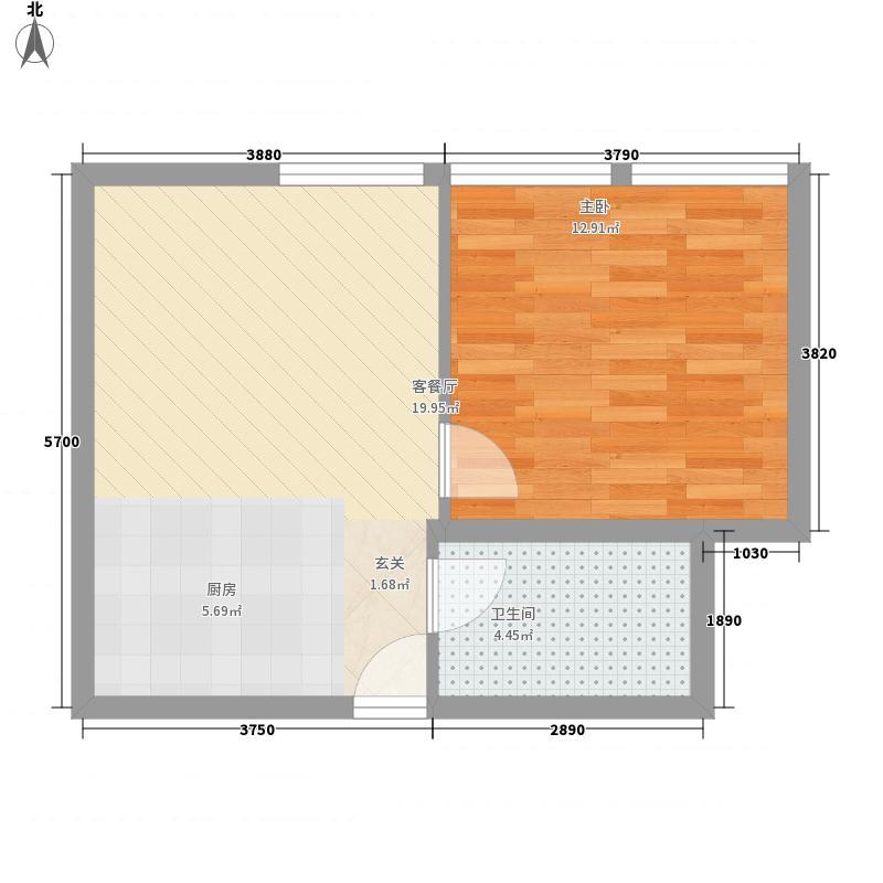 三水合一花园52.20㎡海岛1号2户型1室1厅1卫1厨
