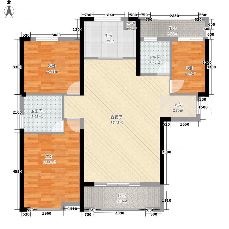 统建天成美景128.00㎡3、5号楼Q1户型3室2厅2卫1厨