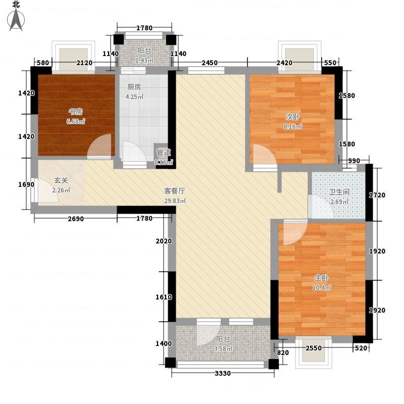 长投景城汉口年华1.70㎡3号楼B-3户型3室2厅1卫1厨