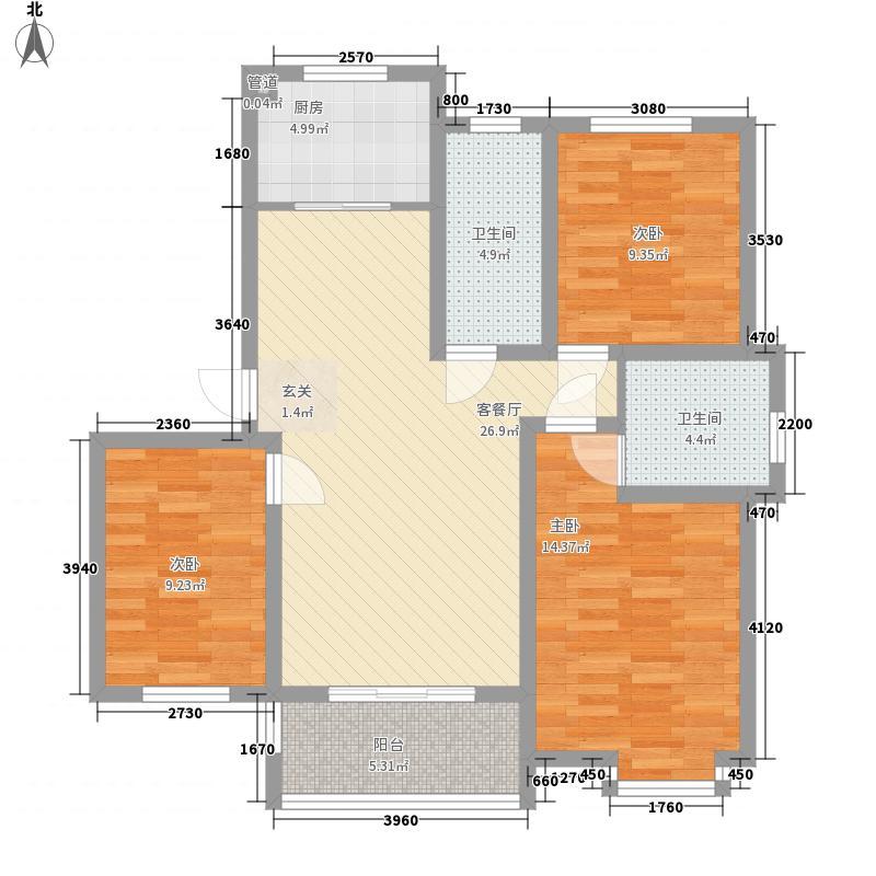 银座动感世代115.10㎡j户型3室2厅2卫1厨