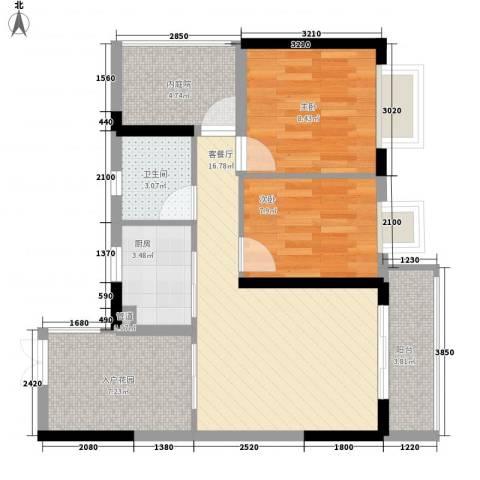 威廉城邦2室1厅1卫1厨76.00㎡户型图