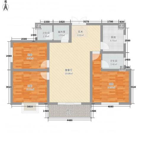 新庄小区3室2厅2卫1厨128.00㎡户型图
