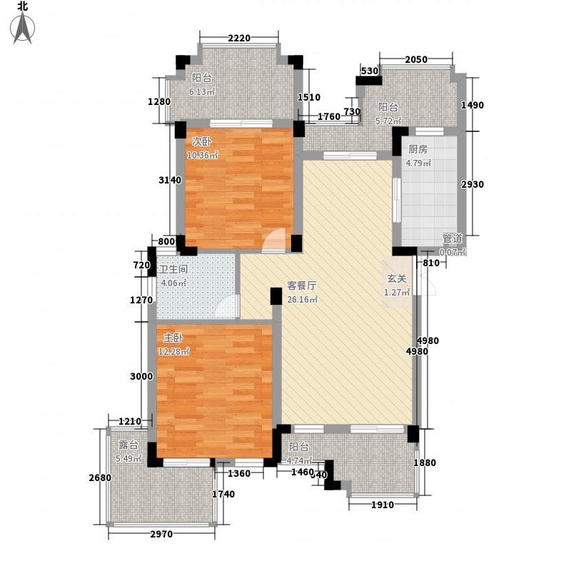 海昌加勒比75.72㎡B2-02户型2室2厅1卫1厨