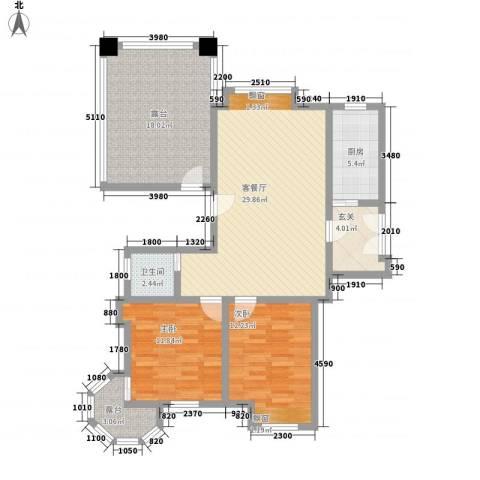 巨龙江山国际2室1厅1卫1厨125.00㎡户型图