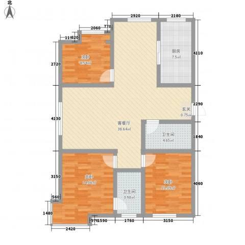 天成一品3室1厅2卫1厨127.00㎡户型图