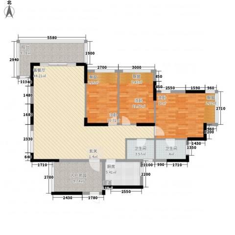 熙龙小镇3室1厅2卫1厨133.00㎡户型图