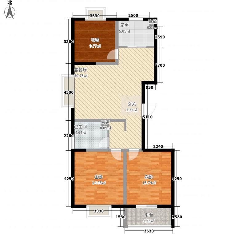 帝景苑118.60㎡19#-A户型3室2厅1卫1厨