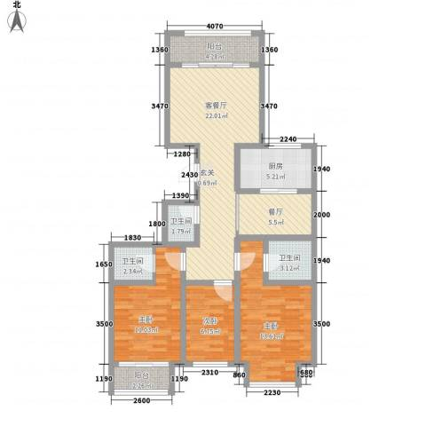 天成一品3室2厅3卫1厨116.00㎡户型图