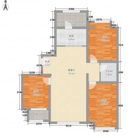 天成一品3室1厅1卫1厨125.00㎡户型图