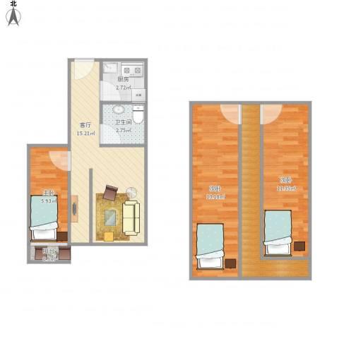 水清二村二期(水清嘉苑)-311-653室1厅1卫1厨82.00㎡户型图