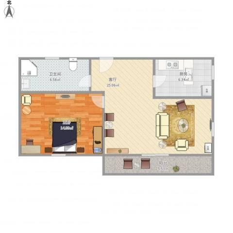 水清二村二期(水清嘉苑)-111-631室1厅1卫1厨79.00㎡户型图