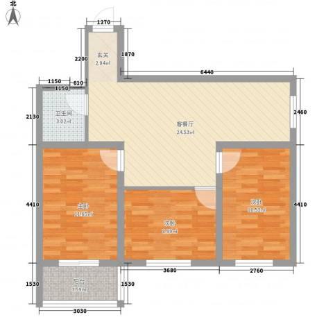 七府苑3室1厅1卫0厨89.00㎡户型图