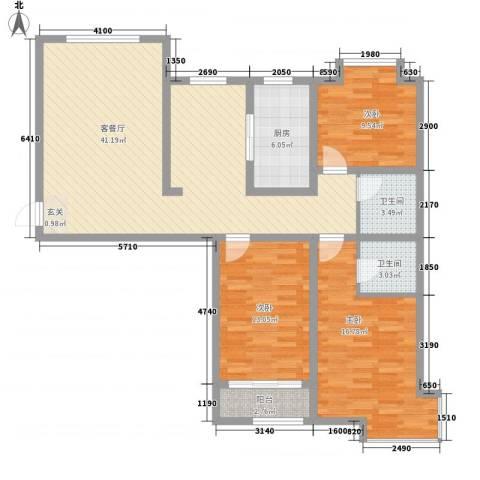 天成一品3室1厅2卫1厨138.00㎡户型图