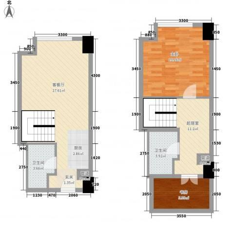 方恒・偶寓空间2室1厅2卫0厨67.70㎡户型图