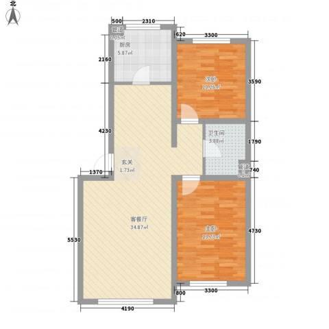 罗曼松鼠湾2室1厅1卫1厨68.77㎡户型图