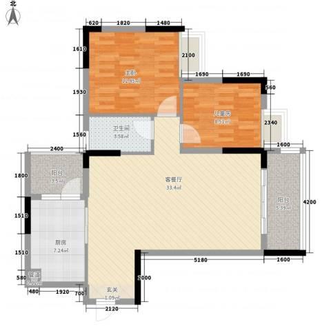 景致尚寓2室1厅1卫1厨105.00㎡户型图