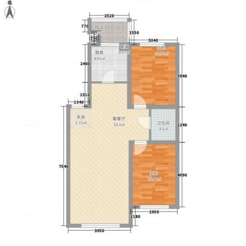 罗曼松鼠湾2室1厅1卫1厨86.00㎡户型图