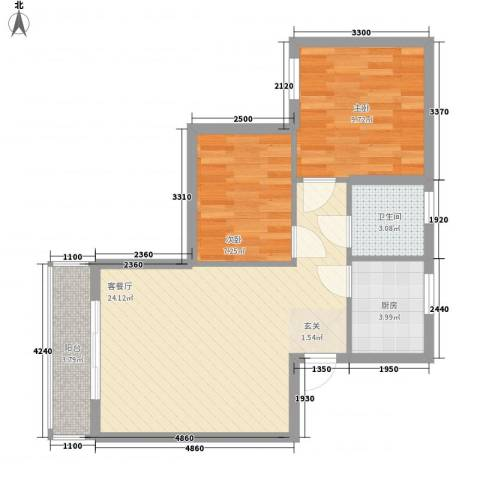 万翠苑2室1厅1卫1厨59.00㎡户型图