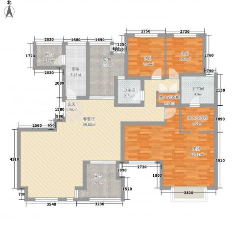 金地国际花园3室1厅2卫1厨157.00㎡户型图