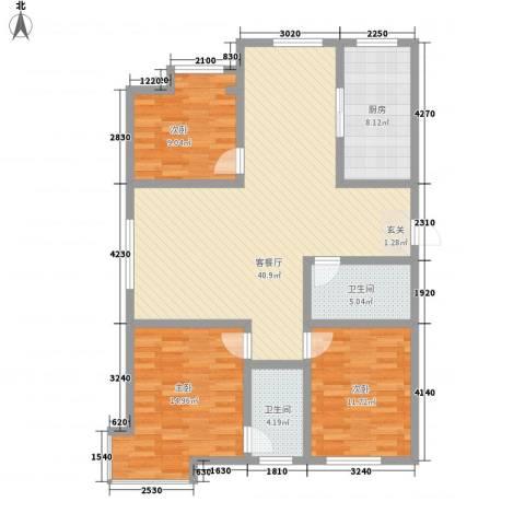 天成一品3室1厅2卫1厨134.00㎡户型图