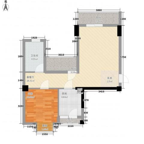 招商花园城1室1厅1卫1厨74.00㎡户型图