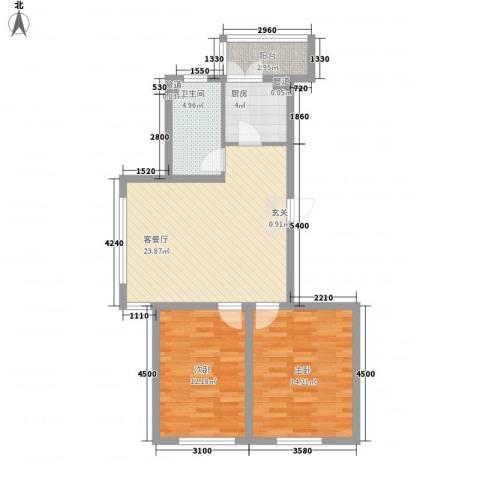 罗曼松鼠湾2室1厅1卫1厨88.00㎡户型图