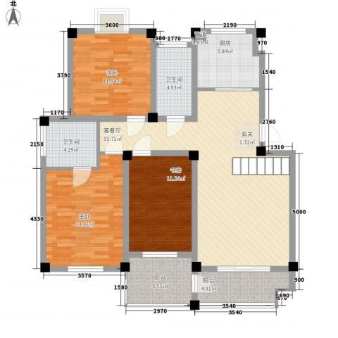 丽景天城3室1厅2卫1厨136.00㎡户型图