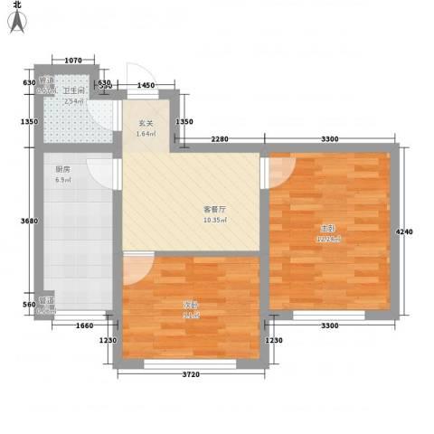 罗曼松鼠湾2室1厅1卫1厨62.00㎡户型图