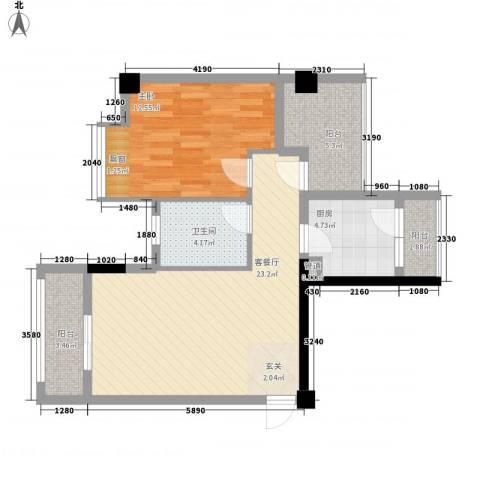 招商花园城1室1厅1卫1厨55.38㎡户型图