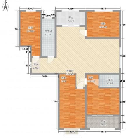 泉府公馆4室1厅2卫1厨180.00㎡户型图