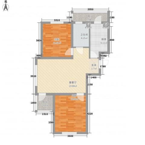 罗曼松鼠湾2室1厅1卫1厨84.00㎡户型图