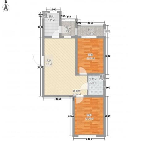 罗曼松鼠湾2室1厅1卫1厨76.00㎡户型图