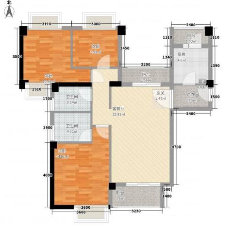 招商花园城3室1厅2卫1厨121.00㎡户型图